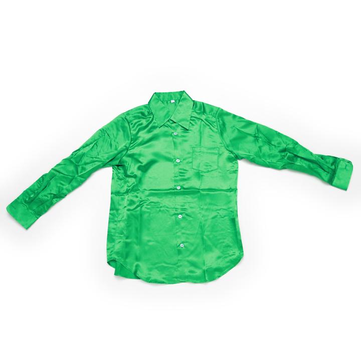 ダンス 衣装 サテンシャツ グリーン